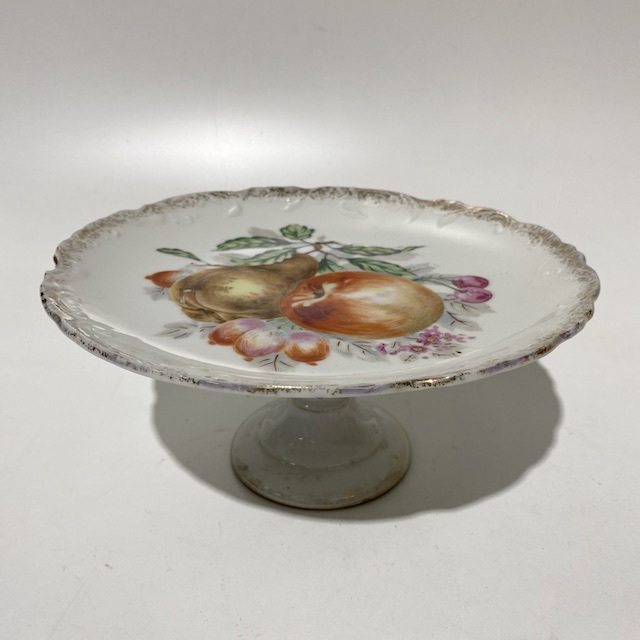 CAK0032 CAKE STAND, Vintage Plate Stand w Fruit $6.25