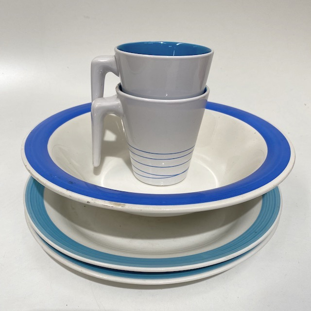 DIN0026 DINNERWARE, Contemporary Blue (Turquoise) White Stripe Assorted $2.50