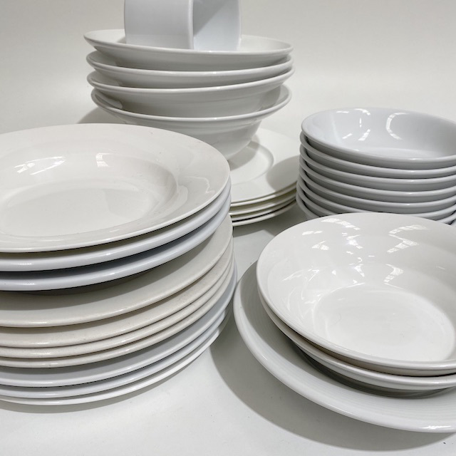 DIN0031 DINNERWARE, Contemporary White Assorted $2.50