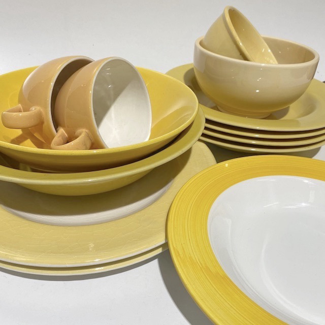DIN0033 DINNERWARE, Contemporary Yellow Crockery Assorted $2.50