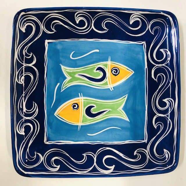 PLA0099 PLATTER, Hand Painted Square Blue Fish $6.25