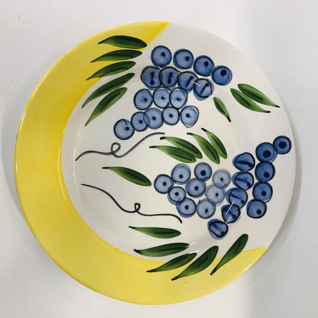 PLA0160 PLATTER, Hand Painted Yellow w Grapes $6.25