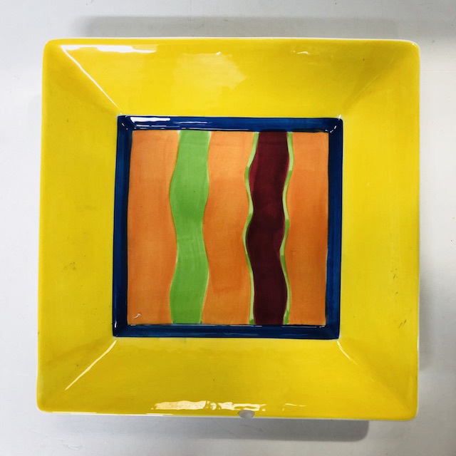 PLA0161 PLATTER, Hand Painted Square Yellow Stripe $5