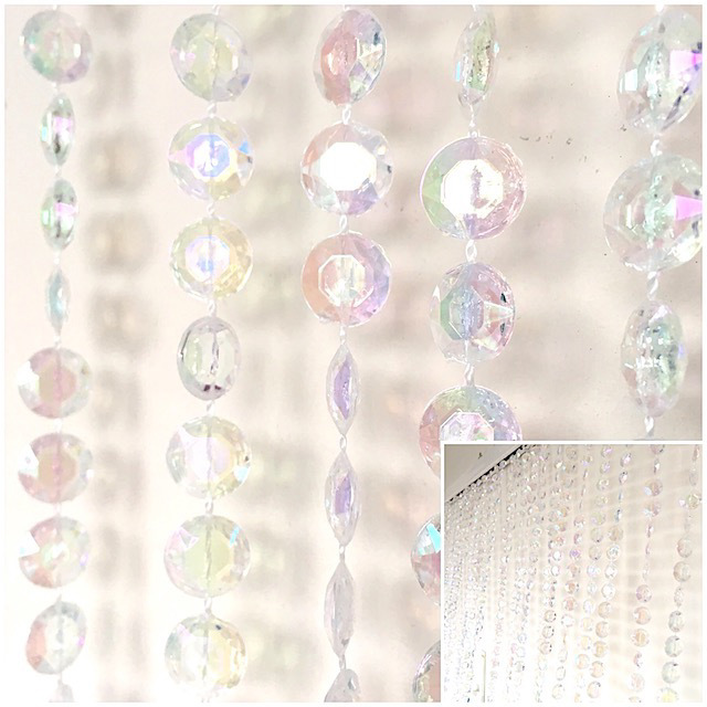 CUR0022 CURTAIN, Beaded Iridescent Crystal 90cmW x 3.6mL $22.50