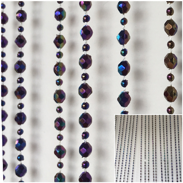 CUR0009 CURTAIN, Beaded 1970's - Metallic Purple Blue 90cm x 180cm $15