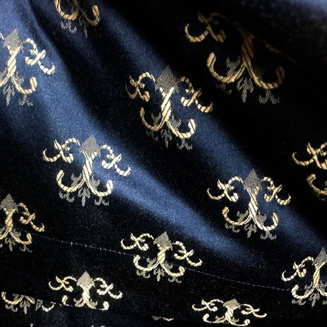 CUR0041 CURTAIN, Pair Black Satin w Gold Motif $30