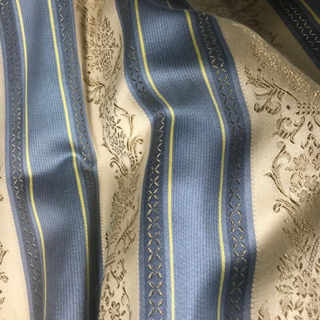 CUR0044 CURTAIN, Pair Blue Gold Regency Stripe $37.50