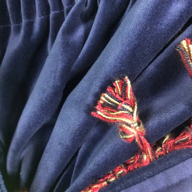 CUR0048 CURTAIN Pair Blue Navy Velvet w Red Tassel (Ex Long) $62.50