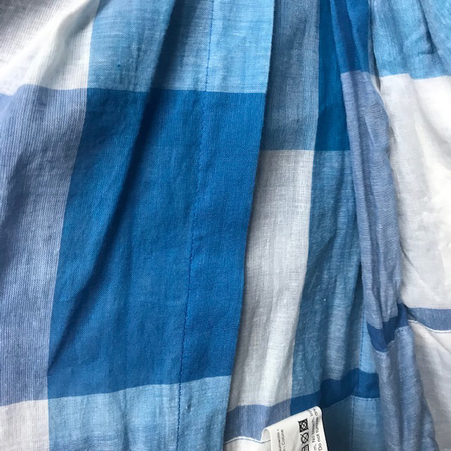 CUR0049 CURTAIN, Pair Blue White Check Tab $20