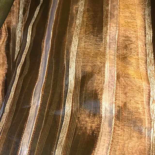 CUR0057 CURTAIN, Brown Gold Stripe Sheer $25