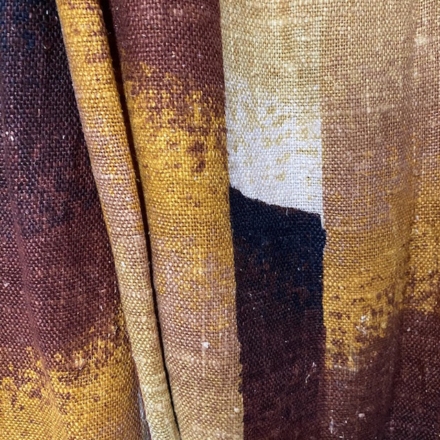 CUR0058 CURTAIN, Brown Linen Abstract $25