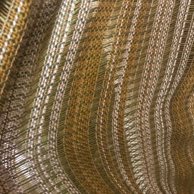 CUR0059 CURTAIN, Pair 1970s Brown Olive Green Stripe Weave 1.5m x 1m Drop $30