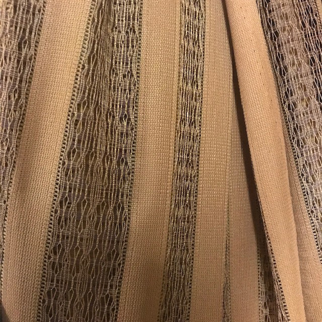 CUR0060 CURTAIN, Pair 1970s Brown Stripe Weave 2.2m 2.3m Drop $20