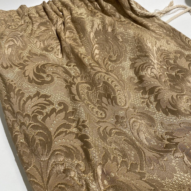 CUR0061 CURTAIN, Brown Tan Damask $25