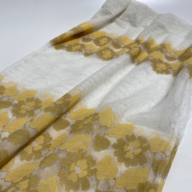 CUR0066 CURTAIN, Pair Gold Brown Floral Net Cafe Style Pair (Short) $15
