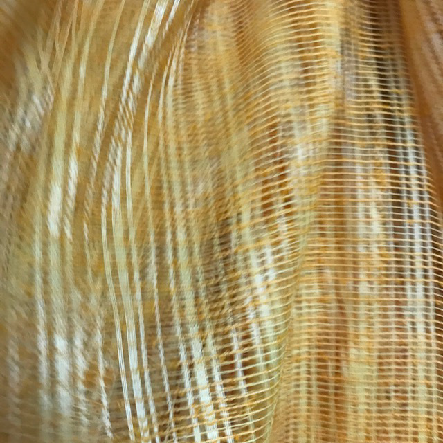 CUR0068 CURTAIN, Pair 1970s Gold Tan Net $20