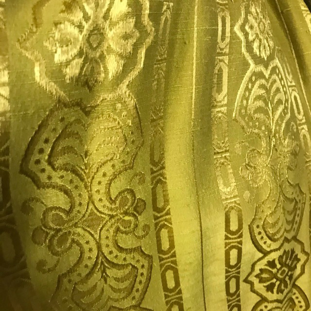 CUR0070 CURTAIN, Pair 1960s Green Chartreuse Gold Pattern $37.50