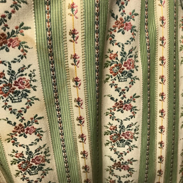 CUR0071 CURTAIN, Pair Green Floral Regency Stripe Pair $37.50
