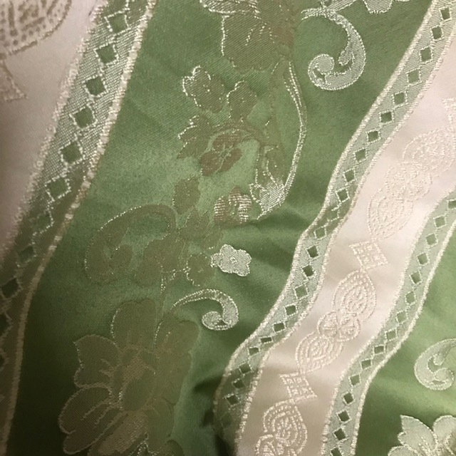 CUR0072 CURTAIN, Pair Green Ivory Regency Stripe Pair $37.50
