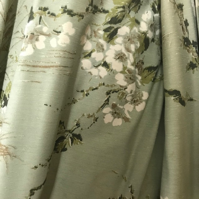 CUR0055 CURTAIN, Pair Green Mint White Flowers 1.2m x 2m Drop $37.50