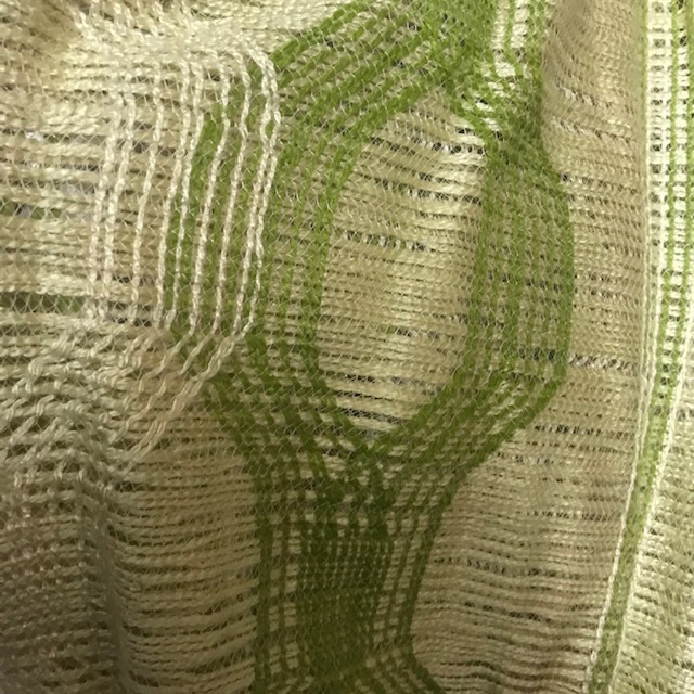 CUR0073 CURTAIN, Pair 1970s Green Natural Pattern Net $20