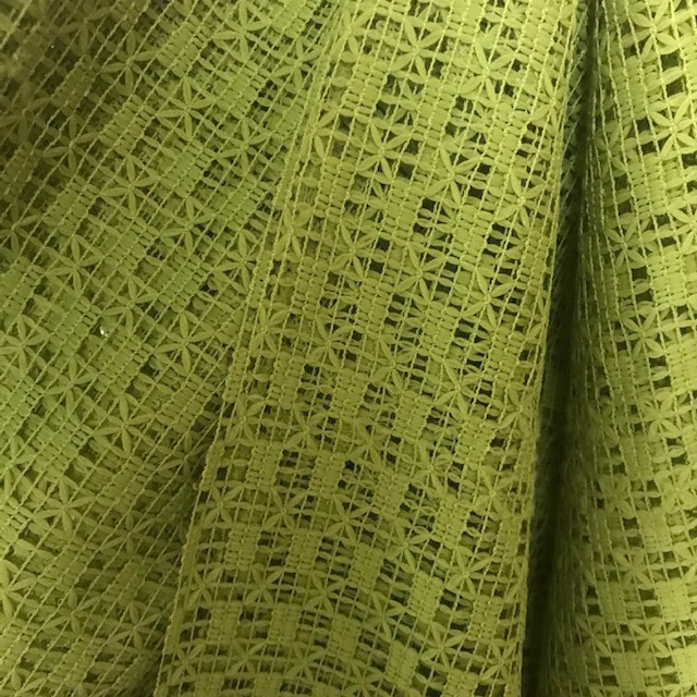 CUR0074 CURTAIN, Pair 1970s Green Net $20