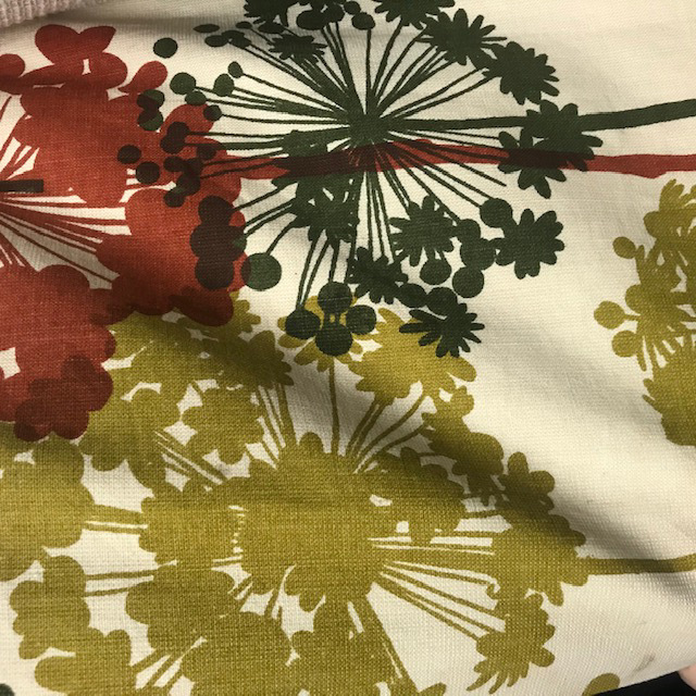 CUR0075 CURTAIN, Pair Green Olive Rust Dandelions $30