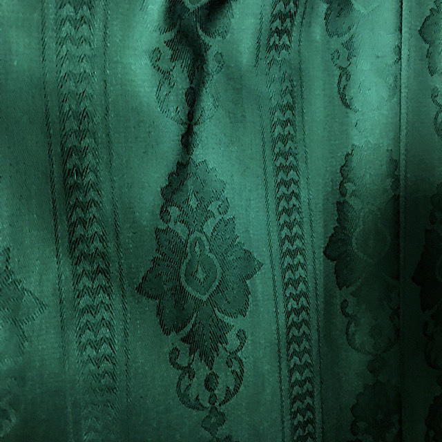 CUR0079 CURTAIN, Pair Green Teal Damask Stripe $30