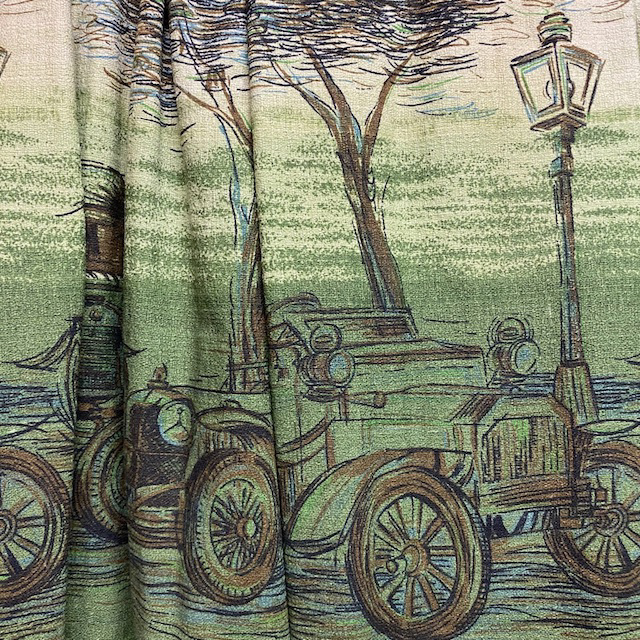 CUR0080 CURTAIN, Pair 1950s Green Vintage Car and Lamp Post $37.50
