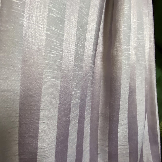 CUR0083 CURTAIN, Pair Grey Lilac Mauve Silk Stripe Pair (Ex Long) $62.50