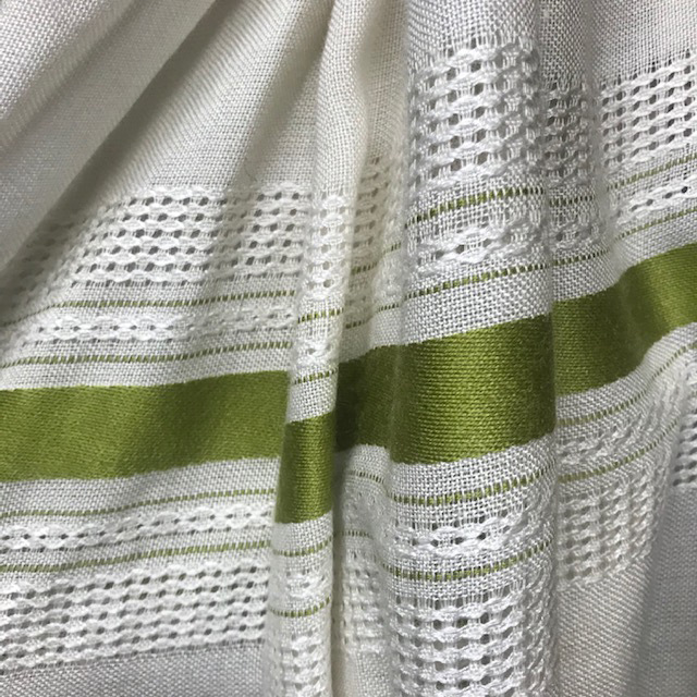 CUR0088 CURTAIN, Pair 1970s Natural Weave w Green Stripe $22.50
