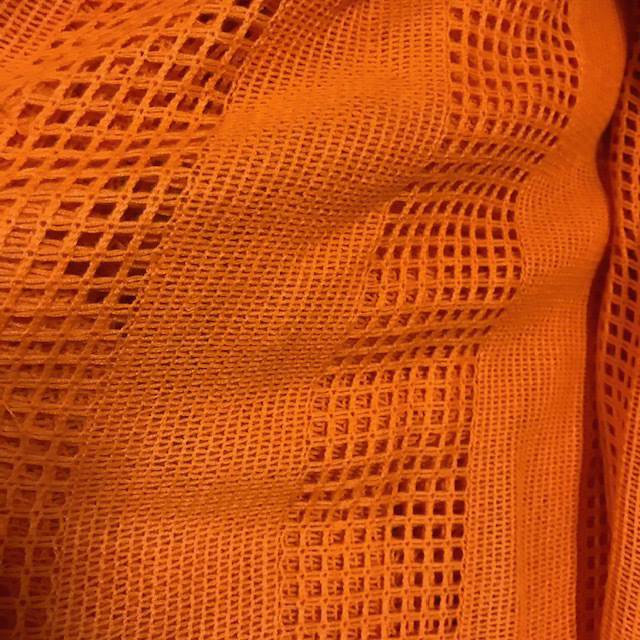 CUR0092 CURTAIN, Pair 1970s Orange Weave $20