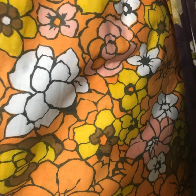 CUR0094 CURTAIN, Pair 1970s Orange Yellow Floral $25