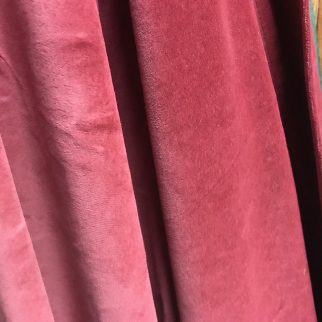 CUR0029 CURTAIN, Dusty Pink Velvet 1.3m W x 2.2m Drop $25