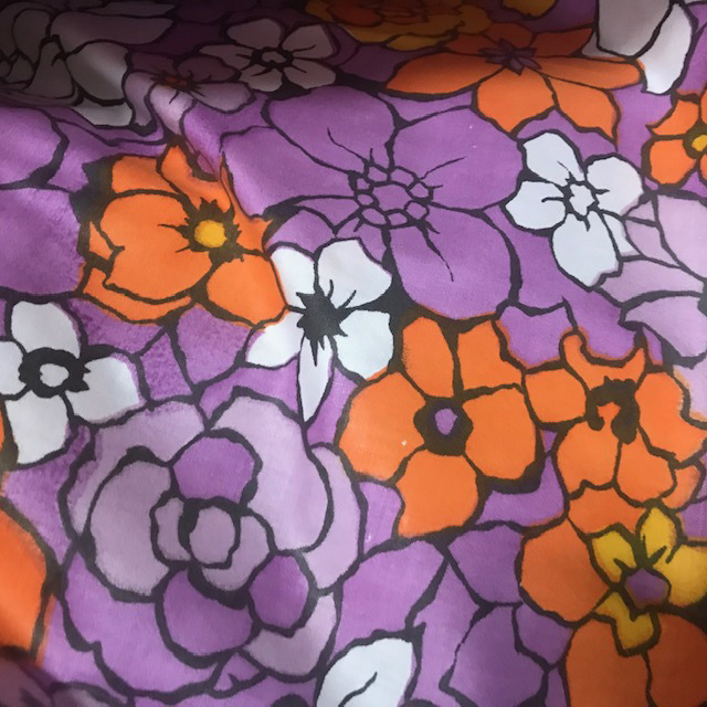 CUR0113 CURTAIN, Pair 1970's Purple Orange Floral $25
