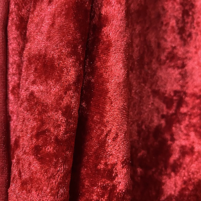 CUR0002 CURTAIN, Bright Red Crushed Velvet 1.5m x 2.8m drop $25