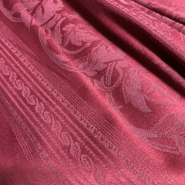CUR0117 CURTAIN, Pair Red Damask Stripe $30