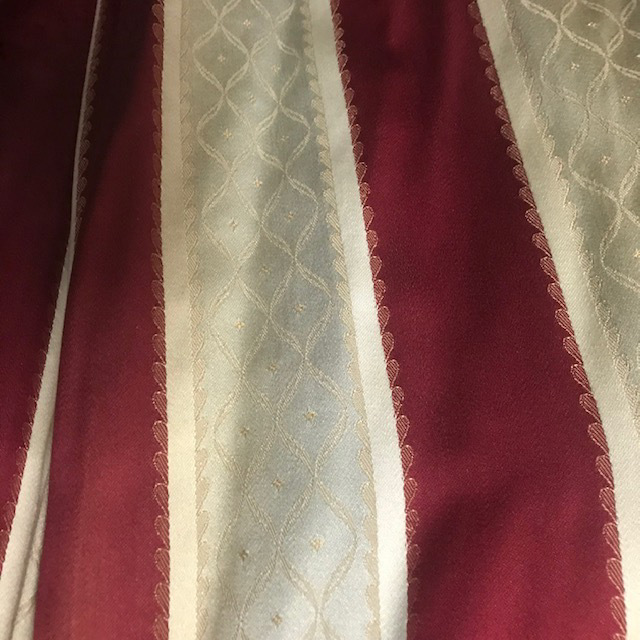 CUR0118 CURTAIN, Pair Red Grey Regency Stripe $37.50