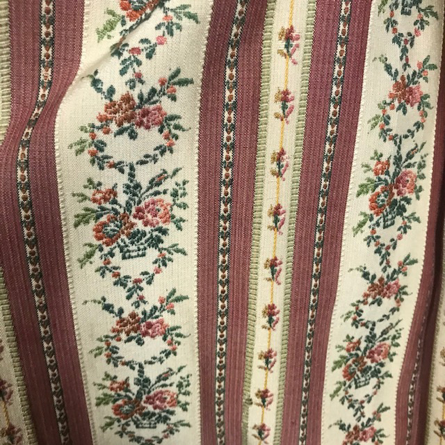 CUR0121 CURTAIN, Pair Rust Pink Regency Floral Stripe $37.50