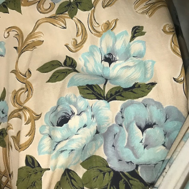 CUR0123 CURTAIN, Pair 1950s Vintage Cream Blue Olive Floral $30