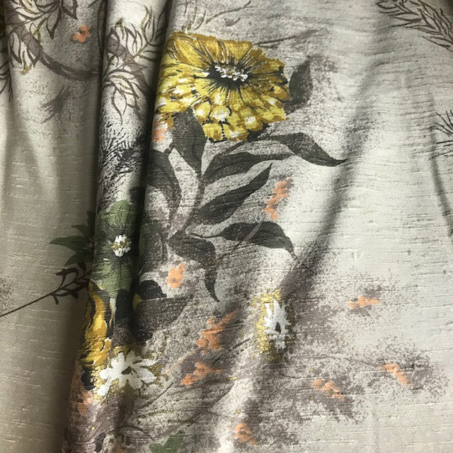 CUR0127 CURTAIN, Pair Vintage Floral Sunflower $30