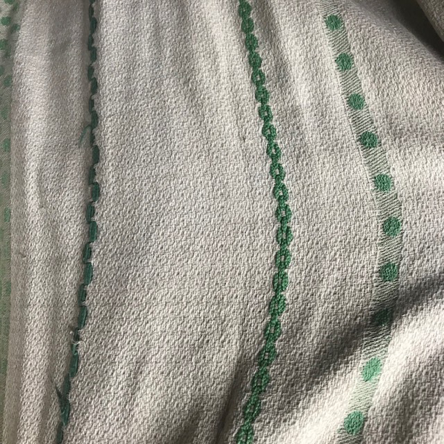 CUR0129 CURTAIN, Pair Vintage White w Green Stripe $30