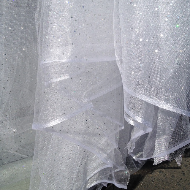 CUR0131 CURTAIN, White Sequin Sheer (Ex Wide) $50