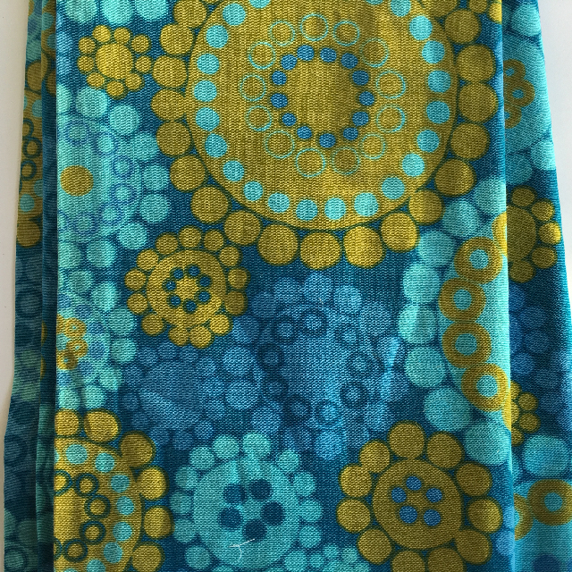 CUR0012 CURTAIN, Pair 1970s Blue Olive Abstract Flowers $30