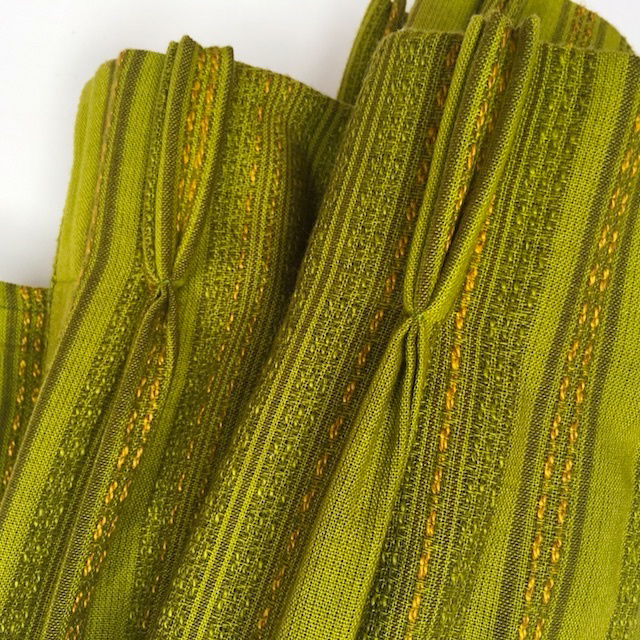 CUR0024 CURTAIN, Pair 1970s Green Mustard 2.6m x 1.7m Drop $30