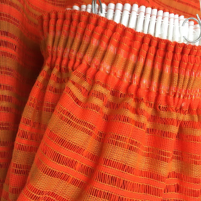 CUR0025 CURTAIN, 1970s Orange Open Weave 3.5m x 1.4m Drop (Single) $37.50