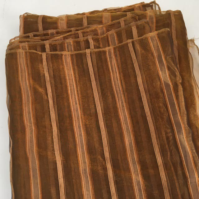 CUR0122 CURTAIN, Rust Stripe Sheer (Ex Wide) $25