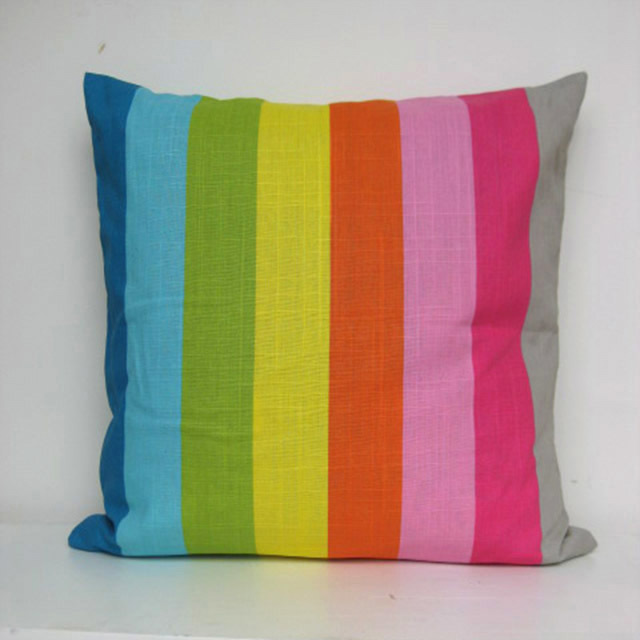 CUS0004 CUSHION, Neon Multi Stripe 50cm $10