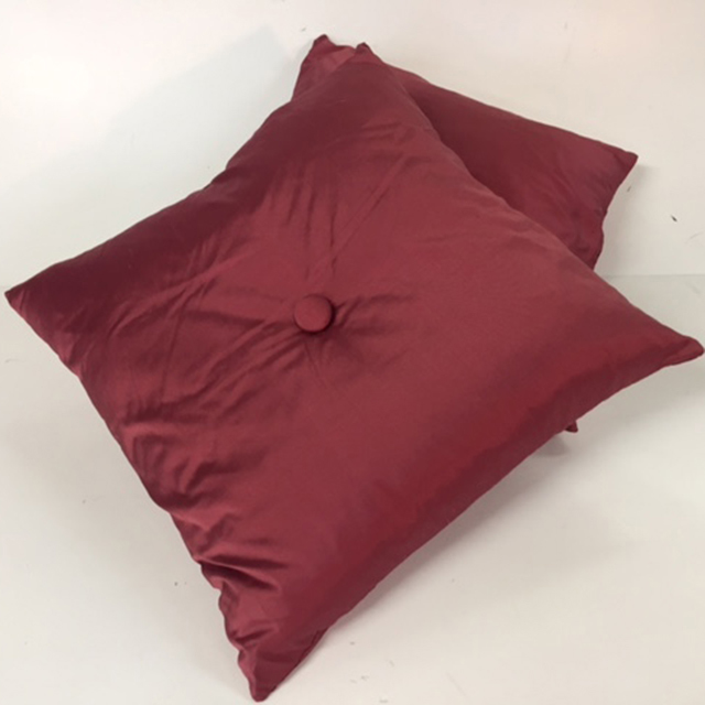 CUS0017 CUSHION, Asian - Maroon Silk w Button $10