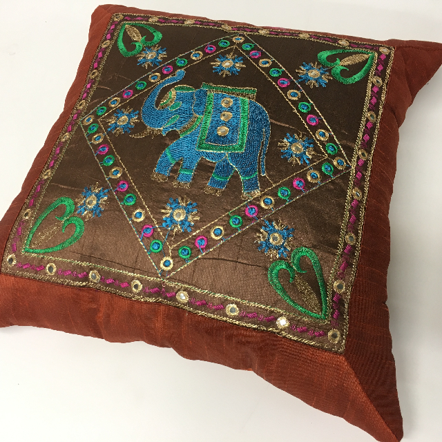 CUS0021 CUSHION, Indian - Rust Brown w Embroidered Elephant 40cm $10
